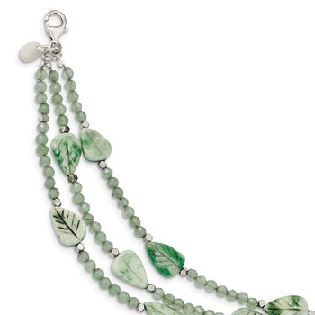 SS Hematite/Green Quartz/Tree Agate Leaves 3-Strand w2in ext. Necklace