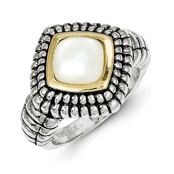 Sterling Silver w/14k Mother of Pearl Ring