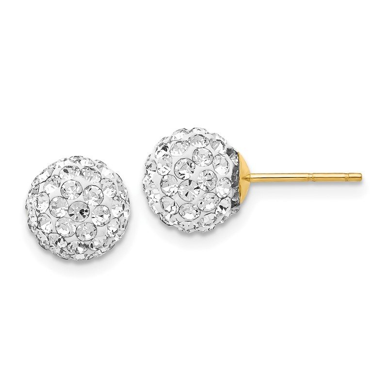 Quality Gold 14K Post 8mm Crystal Ball Earrings