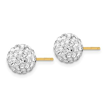 14K Post 8mm Crystal Ball Earrings