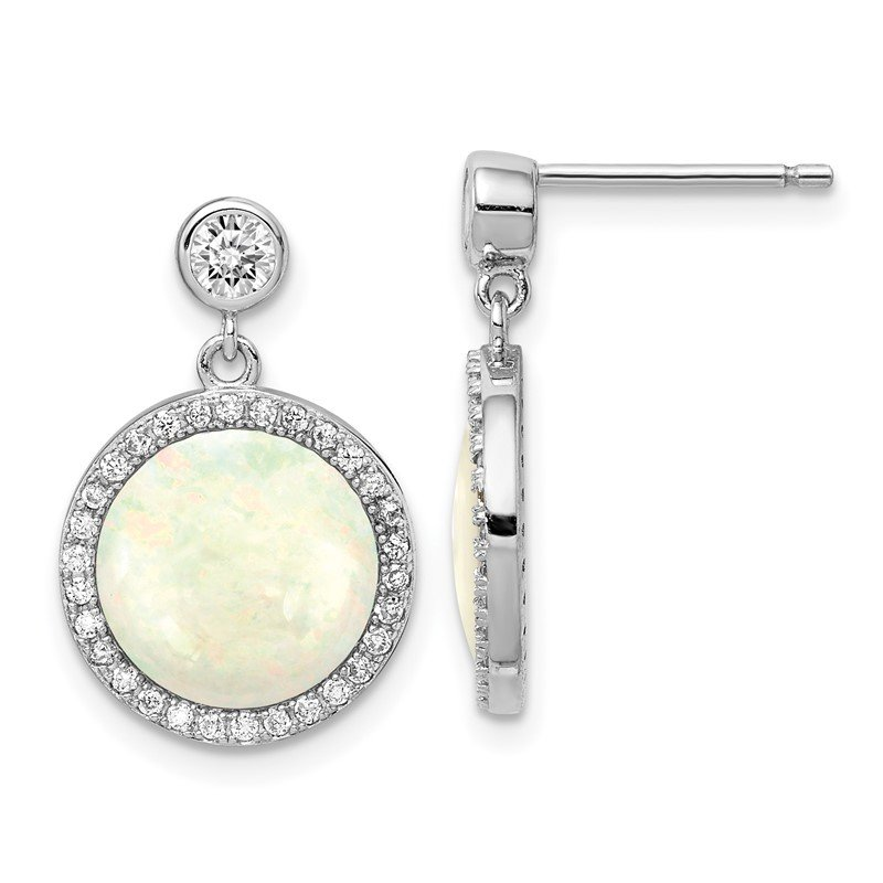 Quality Gold Sterling Silver Rhodium-plated Lab Created Opal and CZ Dangle Earrings