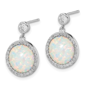 Sterling Silver Rhodium-plated Lab Created Opal and CZ Dangle Earrings