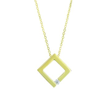 14K Gold .03ct Diamond Open Square Necklace