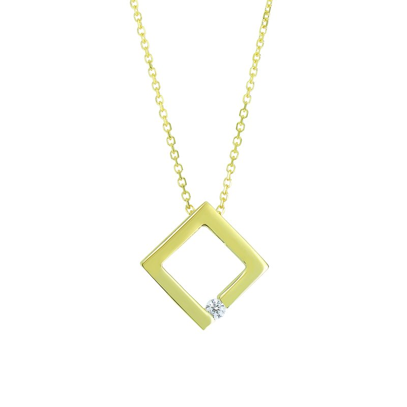 Royal Chain 14K Gold .03ct Diamond Open Square Necklace
