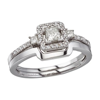 14K White Gold Princess Diamond Band Ring Set