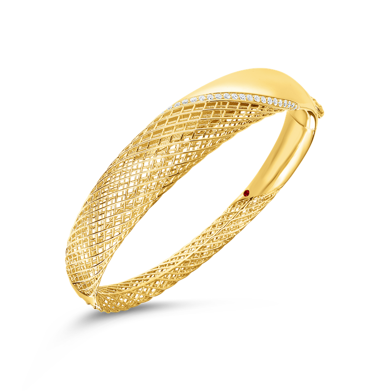 Roberto Coin  #28476 Of 18Kt Gold Hinged Bangle With Diamonds