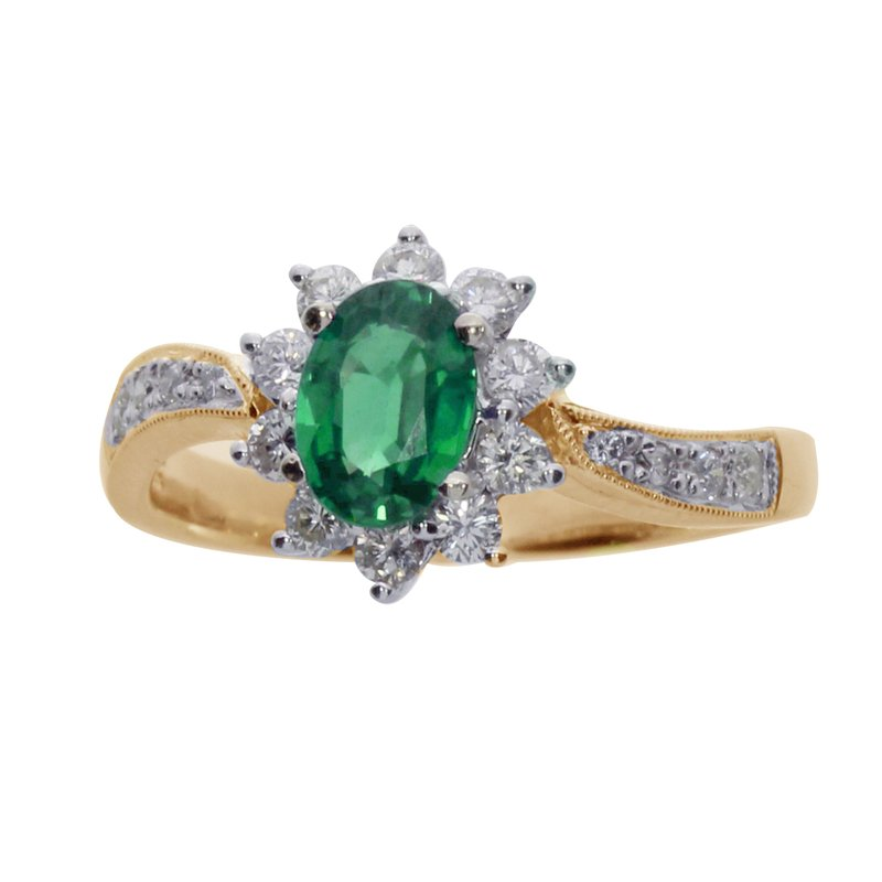 Color Merchants 14k Yellow Gold Oval Emerald and Diamond Ring