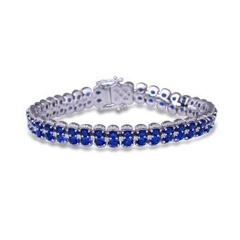 Double Oval Sapphire and Diamond Bracelet
