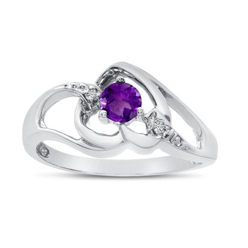 14k White Gold Round Amethyst And Diamond Heart Ring