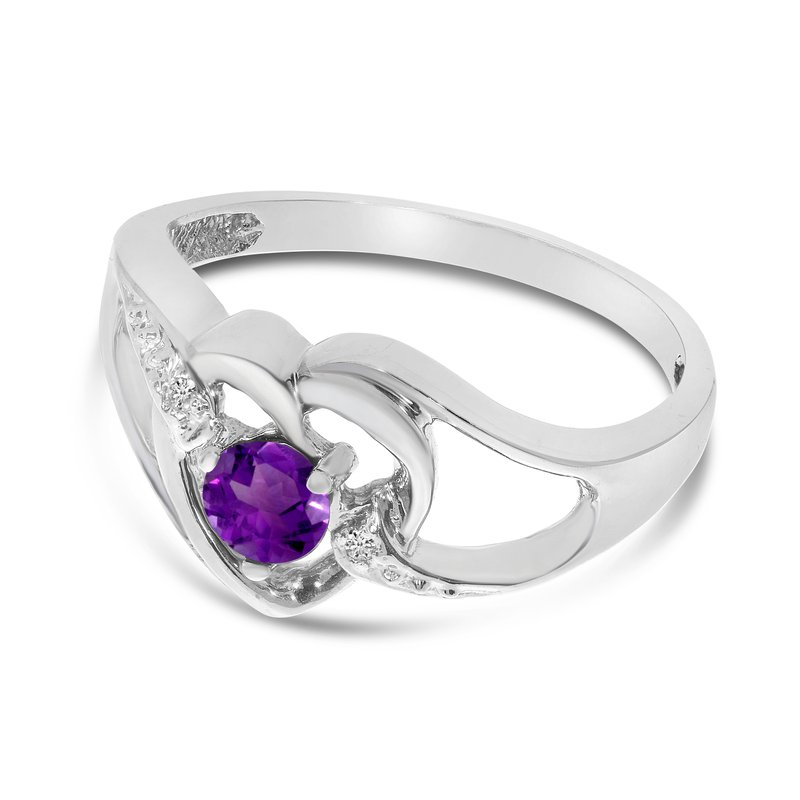 Color Merchants 14k White Gold Round Amethyst And Diamond Heart Ring
