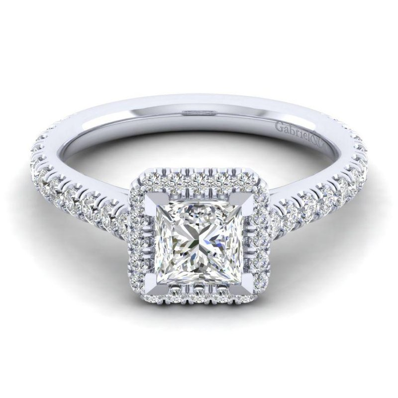 Gabriel & Co. New York 14K White Gold Princess Halo Diamond Engagement Ring