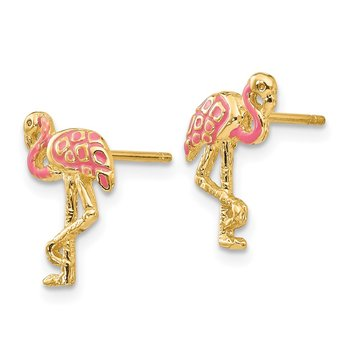 14k Pink Enameled Flamingo Post Earrings