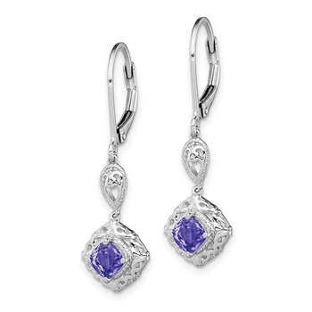 Sterling Silver Rhodium-plated Tanzanite Lever Back Earrings