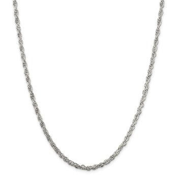 Sterling Silver 4mm Hollow Loose Rope Chain