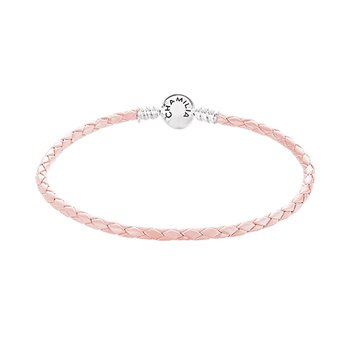 Blush Braided Leather Bracelet with Round Snap Clossure