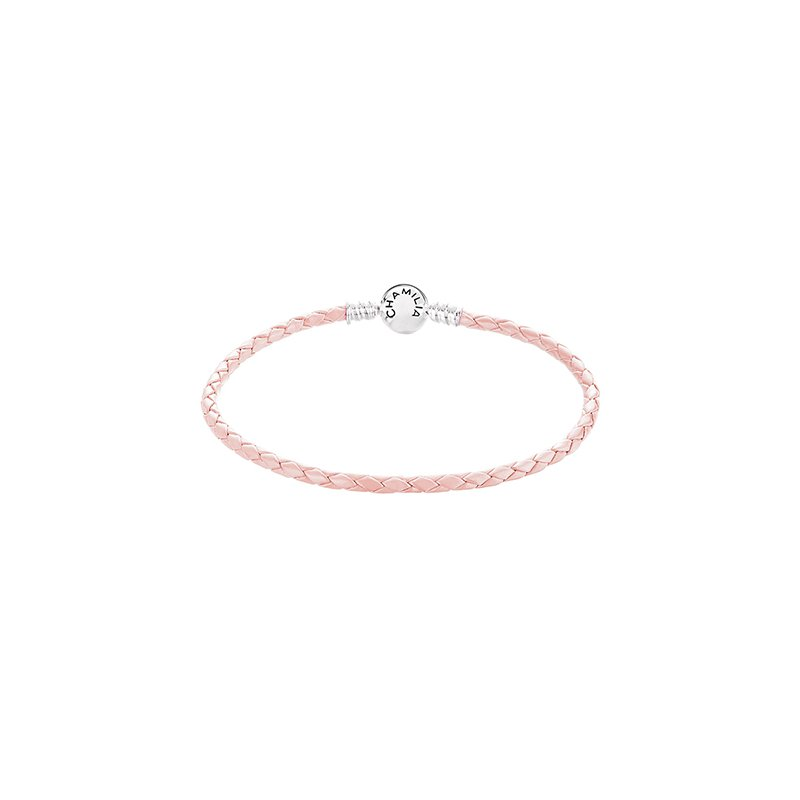 Chamilia Blush Braided Leather Bracelet with Round Snap Clossure