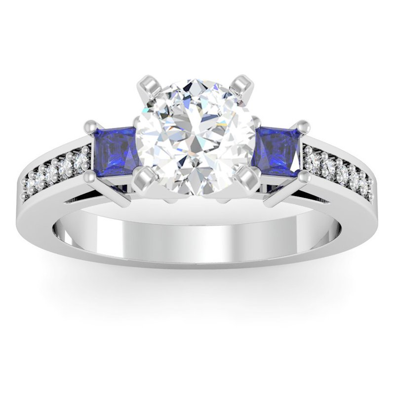 California Coast Designs Blue Sapphire Princess Cut Pave Diamond Engagement Ring