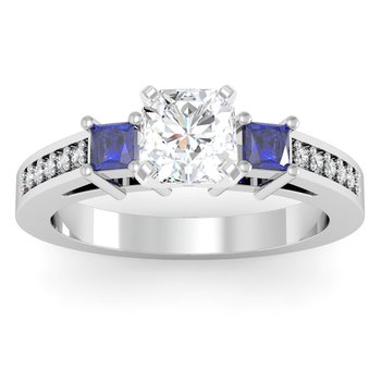 Blue Sapphire Princess Cut Pave Diamond Engagement Ring
