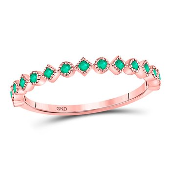 10kt Rose Gold Womens Round Emerald Square Dot Stackable Band Ring 1/5 Cttw