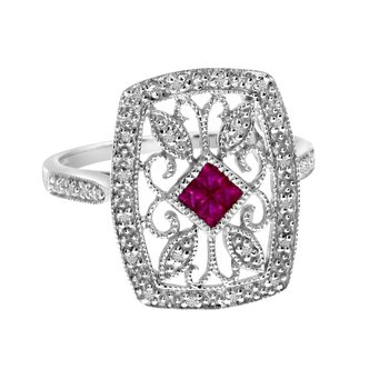 14k White Gold Ruby and Diamond Square Filigree Ring