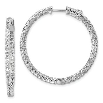 Sterling Silver Rhodium-plated CZ 78 Stones In and Out Hinged Hoop Earrings
