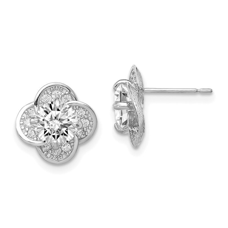 Quality Gold 10K Tiara Collection White Gold Polished CZ Post Earrings
