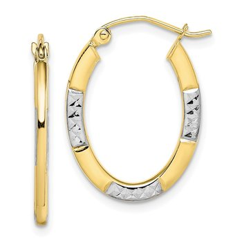 10K and Rhodium Diamond Cut Oval Hoop Earrings