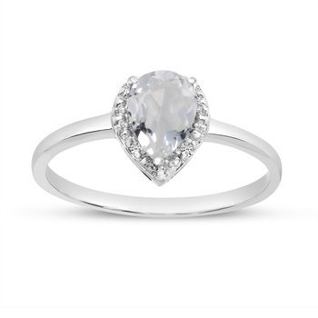 10k White Gold Pear White Topaz And Diamond Ring