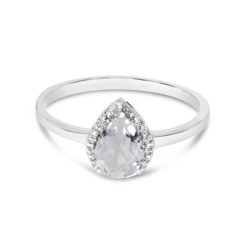 Color Merchants 10k White Gold Pear White Topaz And Diamond Ring
