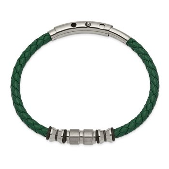 Stainless Steel Brushed & Polished Blk IP/Rubber Green Leather Adj Bracelet