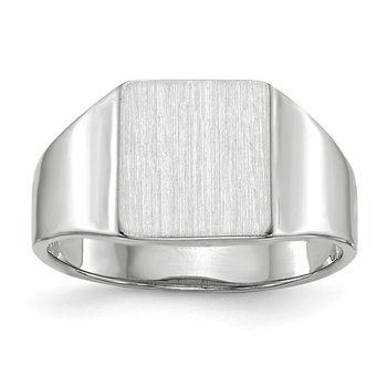 14k White Gold 9.5x8.5mm Open Back Signet Ring