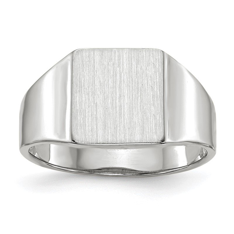 Quality Gold 14k White Gold 9.5x8.5mm Open Back Signet Ring