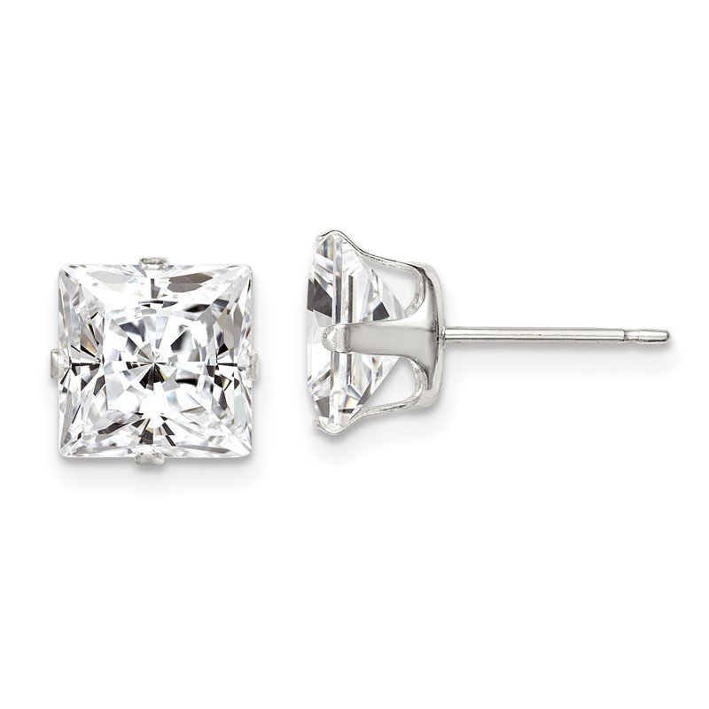 Quality Gold Sterling Silver 8mm Square Snap Set CZ Stud Earrings