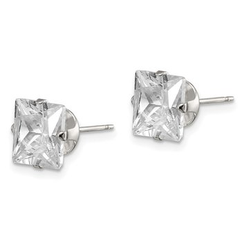 Sterling Silver 8mm Square Snap Set CZ Stud Earrings