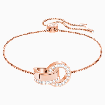 Hollow Bracelet, White, Rose-gold tone plated