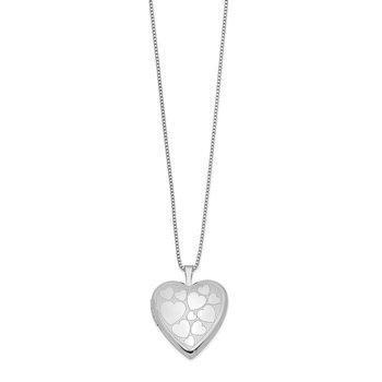 Sterling Silver Rhodium-plated 20mm Floating Hearts Heart Locket Necklace