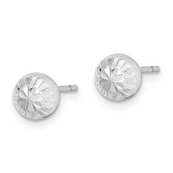 Sterling Silver Rhod-plated Diamond Cut 6mm Ball Post Earrings