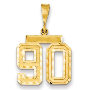 14k Medium Diamond-cut Number 90 Charm