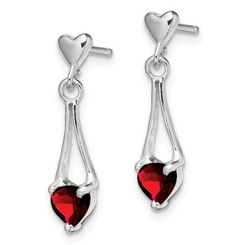 Sterling Silver Polished Garnet Heart Post Dangle Earrings