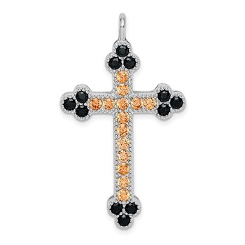 Sterling Silver Rhodium-plated Multi-color Crystal Budded Cross
