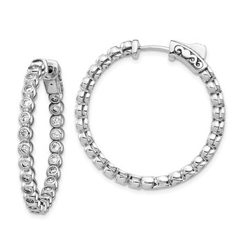 Sterling Silver CZ In and Out Round Hoop Earrings