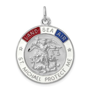 Sterling Silver Rhodium-plated Enameled Saint Michael Medal
