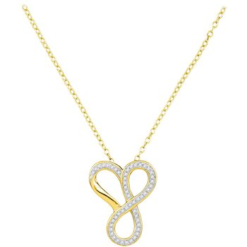 10kt Yellow Gold Womens Round Diamond Infinity Heart Pendant Necklace 1/6 Cttw
