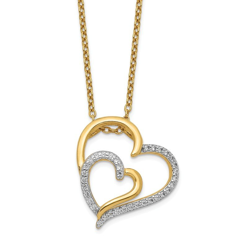 Cheryl M Cheryl M SS Gold Plated CZ Heart Necklace