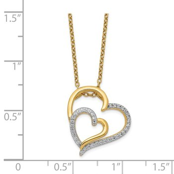 Cheryl M SS Gold Plated CZ Heart Necklace