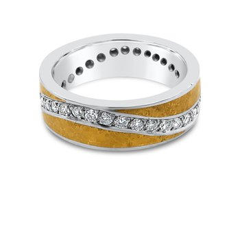 Platinum Yellow Gold Diamond Mens Band Wide Ring
