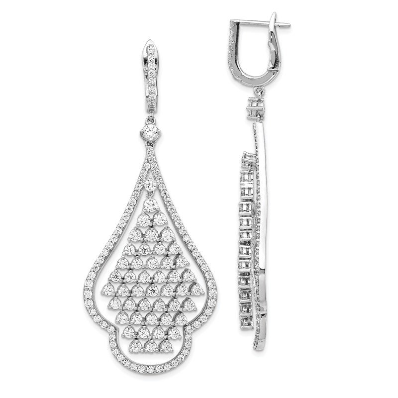 Quality Gold Sterling Silver CZ Chandelier Dangle Hinged Earrings