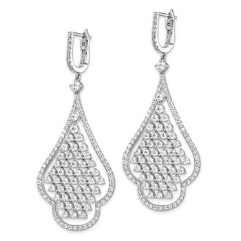 Sterling Silver RH-plated CZ Chandelier Dangle Safety Hinged Earrings