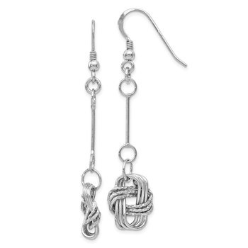 Leslie's Sterling Silver Polished & DC Shepherd Hook Dangle Earrings