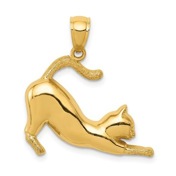 14k Stretching Cat Pendant